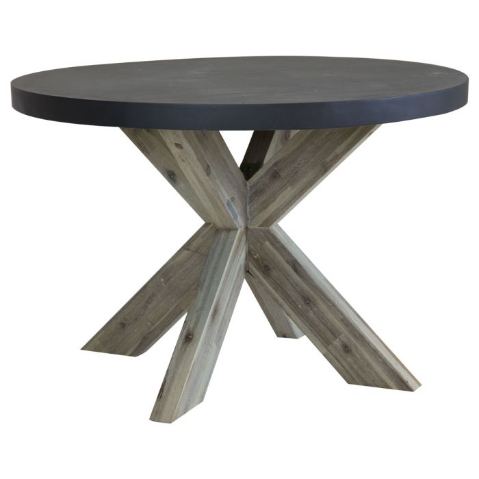 Acacia Wood Outdoor Dining Table, Concrete Round Dining Table Outdoor